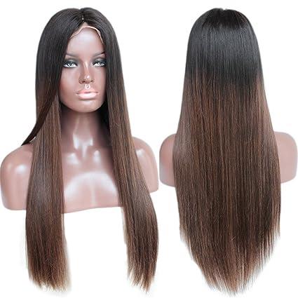 ZanaWigs peluca de pelo humano sin pegamento, red frontal, sedosa, lisa con dos