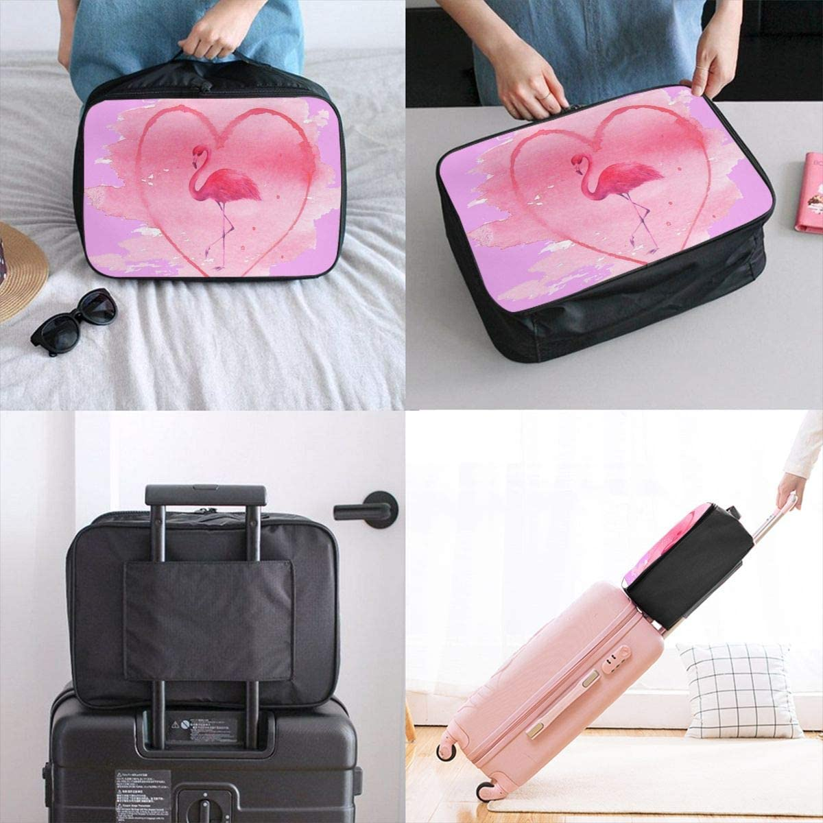 Yunshm Flamingo In Pink Heart Isolated On White Customized Trolley Handbag Waterproof Unisex Large Capacity For Business Travel Storage