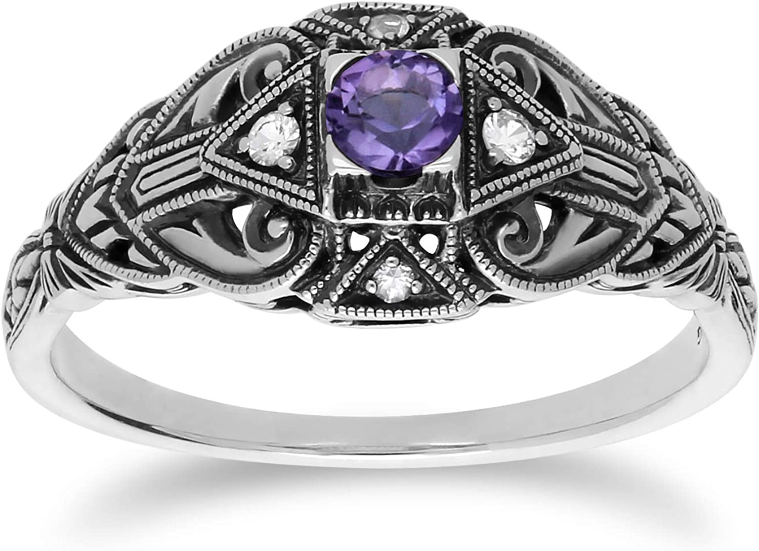 Ornate Mystic Topaz Solitaire 925 Sterling Silver Ring Size 6 7 8 9