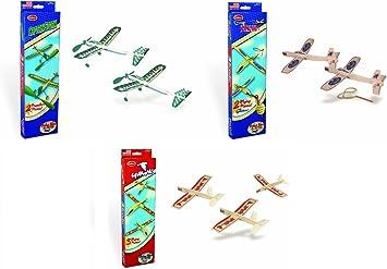 Guillow Balsa Juego de avión de Madera – 3 Kits de avión Balsa en un Juego – Capitán Storm Twin Pack, Sligshot Twin Pack, y Hawk Triple Pack – 7 Aviones incluidos: