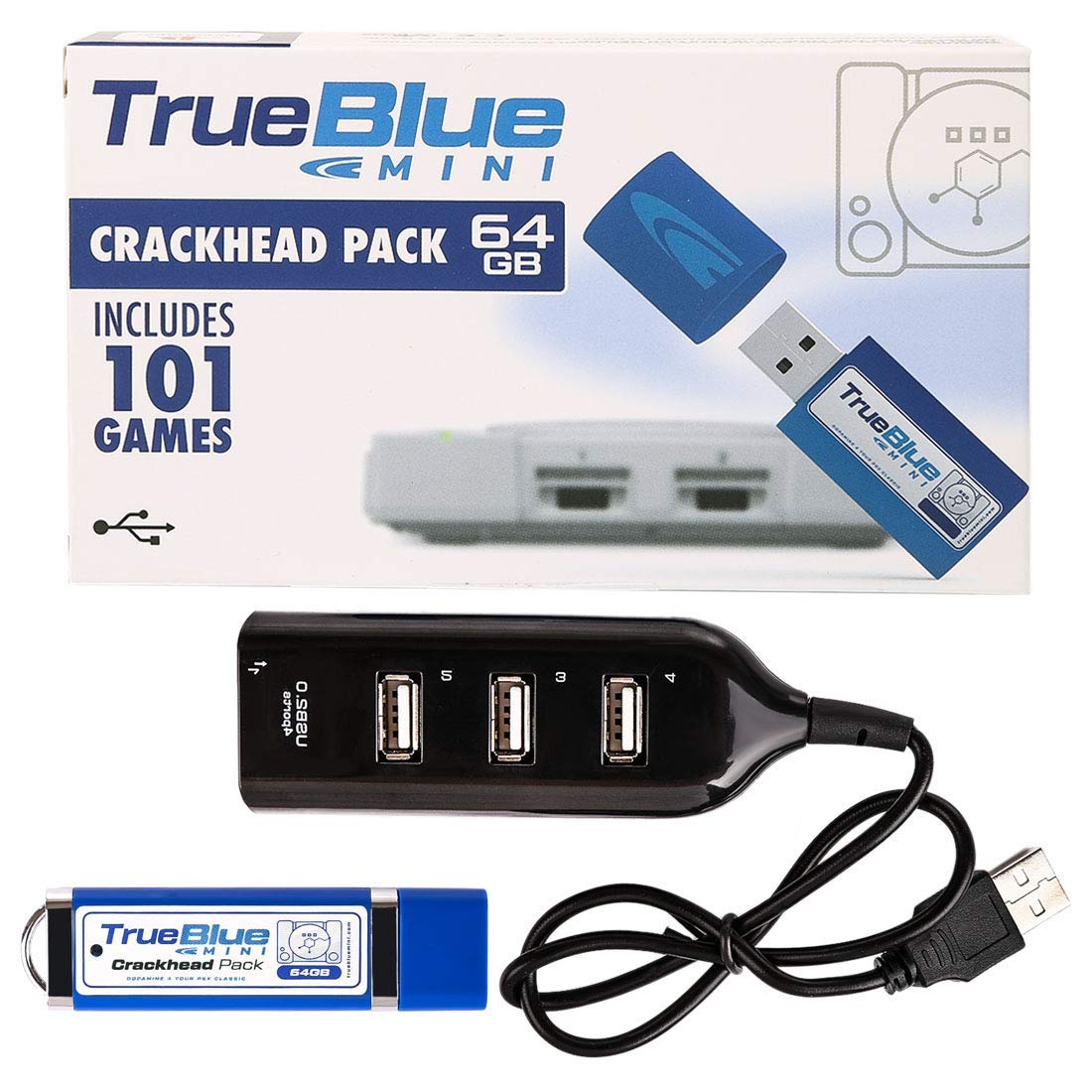 The perseids True Blue Mini Crackhead Pack USB Flash Drives 64GB Game  Memory Stick with 4-Port Hub for Playstation Classic - Includes 101 Games