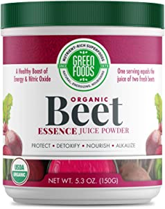 Green Foods - Organic Beet Essence Juice Powder- Nitric Oxide Super Food, Wholefood Antioxidant, Natural Pre Workout, Energy, Endurance, Detox, Heart Health 5.3oz (30 servings)