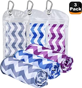 """Amgico Cooling Towel, Ice Towel Rapid Cold Microfiber Towels, (40""""x12"""") Instant Chilly Towels for Sports Gym Fitness Yoga Jogging Workout Enduring Running (3 PCS)"""