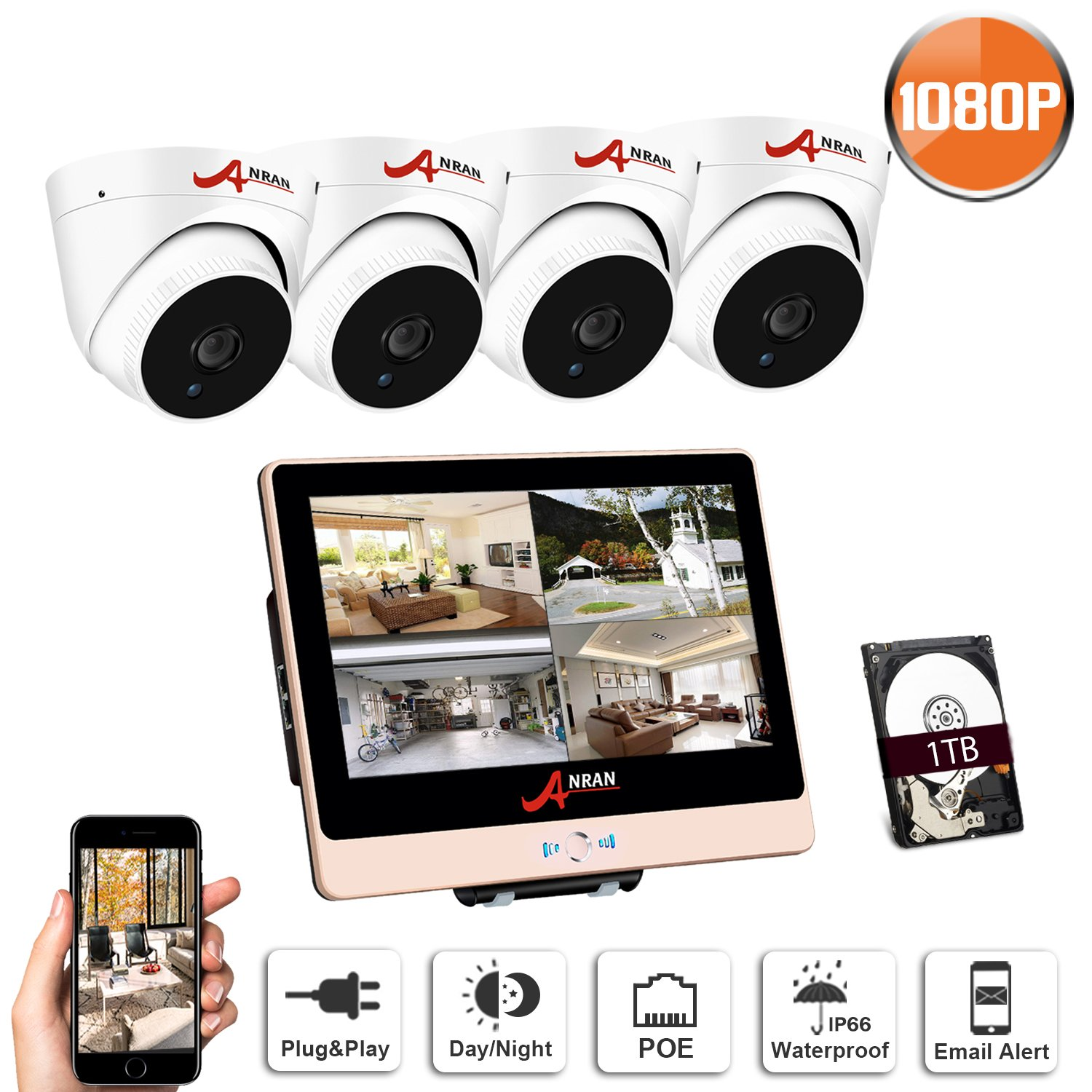 ANRAN PoE Surveillance Video Security Cameras System with 4 HD 1080P Outdoor Dome Cameras 8 Channel 12 Inch LCD Monitor NVR 1TB Hard Drive Storage Plug and Play Remote Access Motion Detection SWINWAY