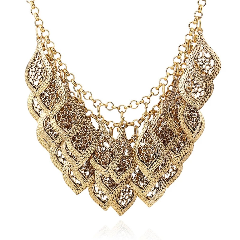 Vintage Gorgeous Multilayer Gold Plated Leaves Chain Collar Bib Temperament Necklace