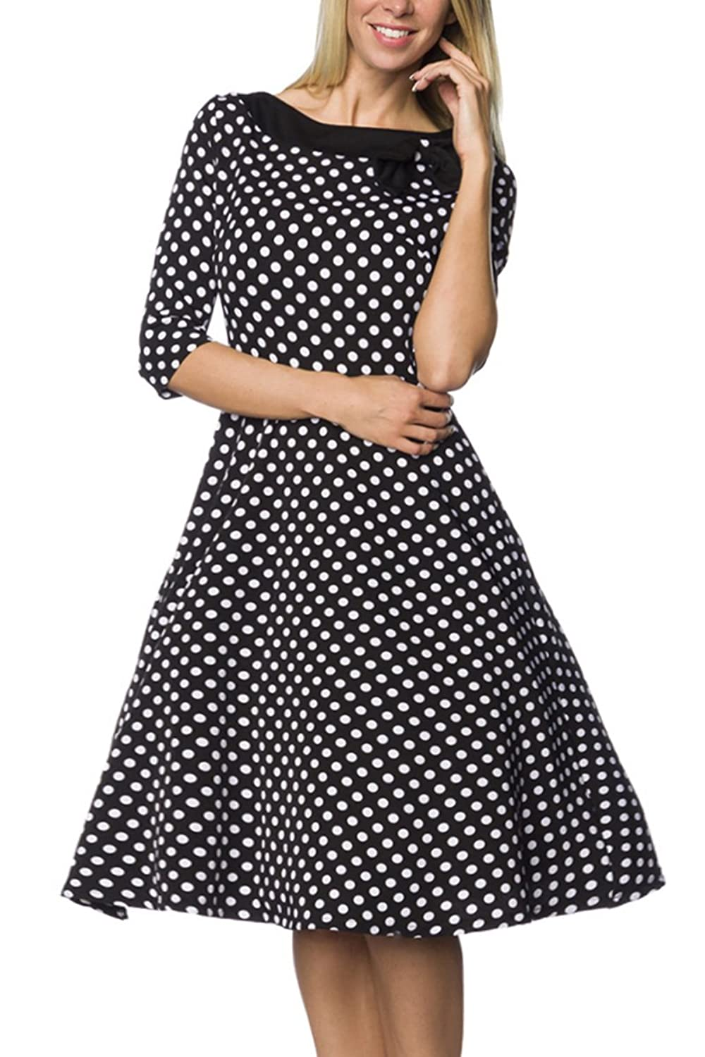 Schwarzes Rockabilly retro Kleid in schwarz mit weißen Punkten mit Reißverschluss Vinatge Kleid knielang