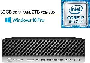 HP EliteDesk 800 G4 SFF Business Desktop Computer, Intel Hexa-Core i7-8700 up to 4.6GHz, 32GB DDR4 RAM, 2TB PCIe SSD, DVDRW, Intel UHD Graphics 630, 802.11AC WiFi, Windows 10 Pro, iPuzzle Mousepad