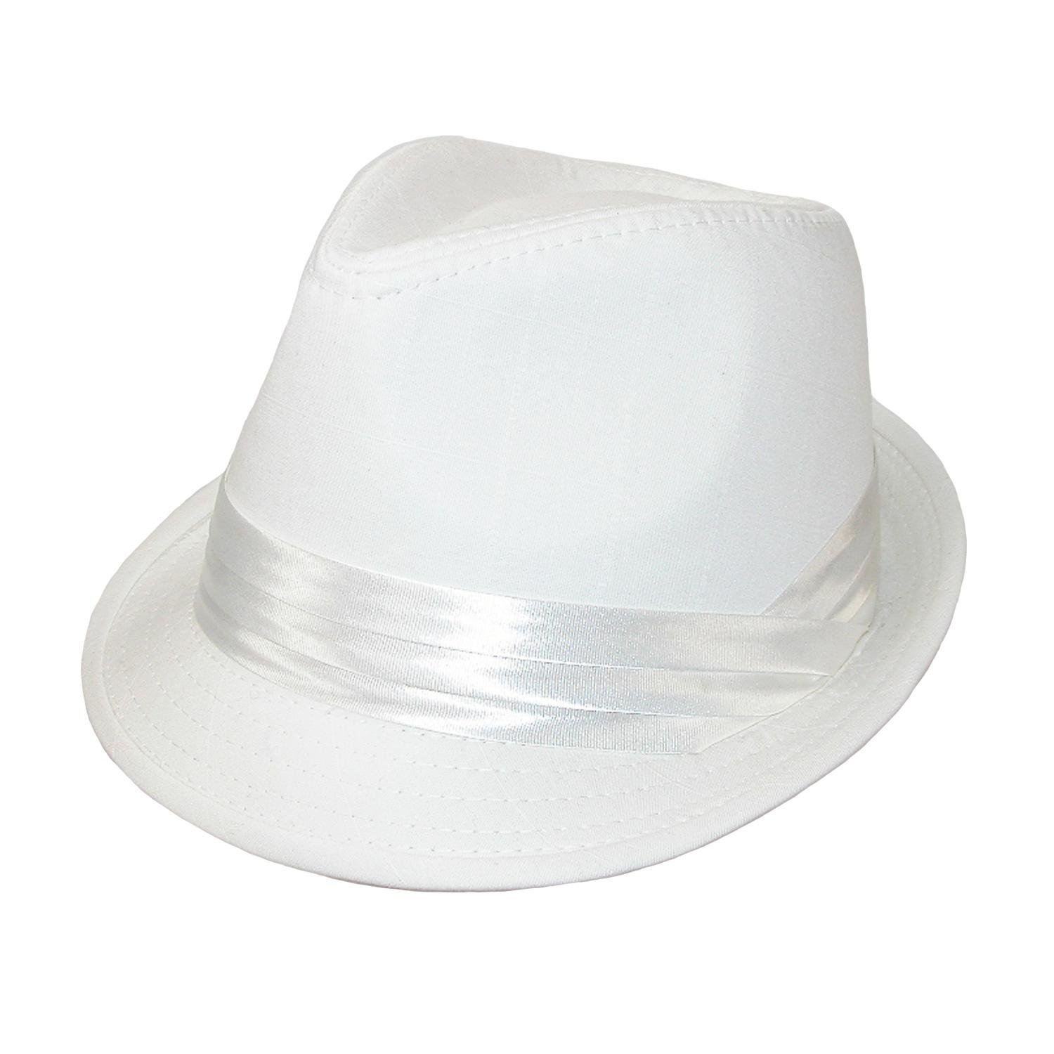 Kenny K Mens Wedding Dress Formal Fedora Hat, Large, White