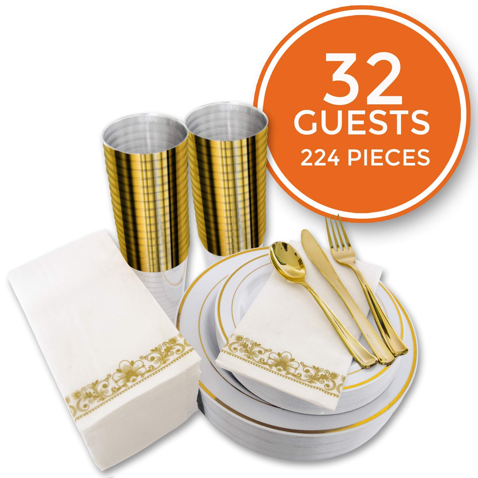 224 PCS Gold Disposable Dinnerware Set for 32 Guest. Gold Rimmed Plastic Dinner Plates with Gold Rimmed Cups Silverware and Napkins. Ideal for Parties, Weddings, Baby Showers, Thanksgivings. by Stellar Home & Living