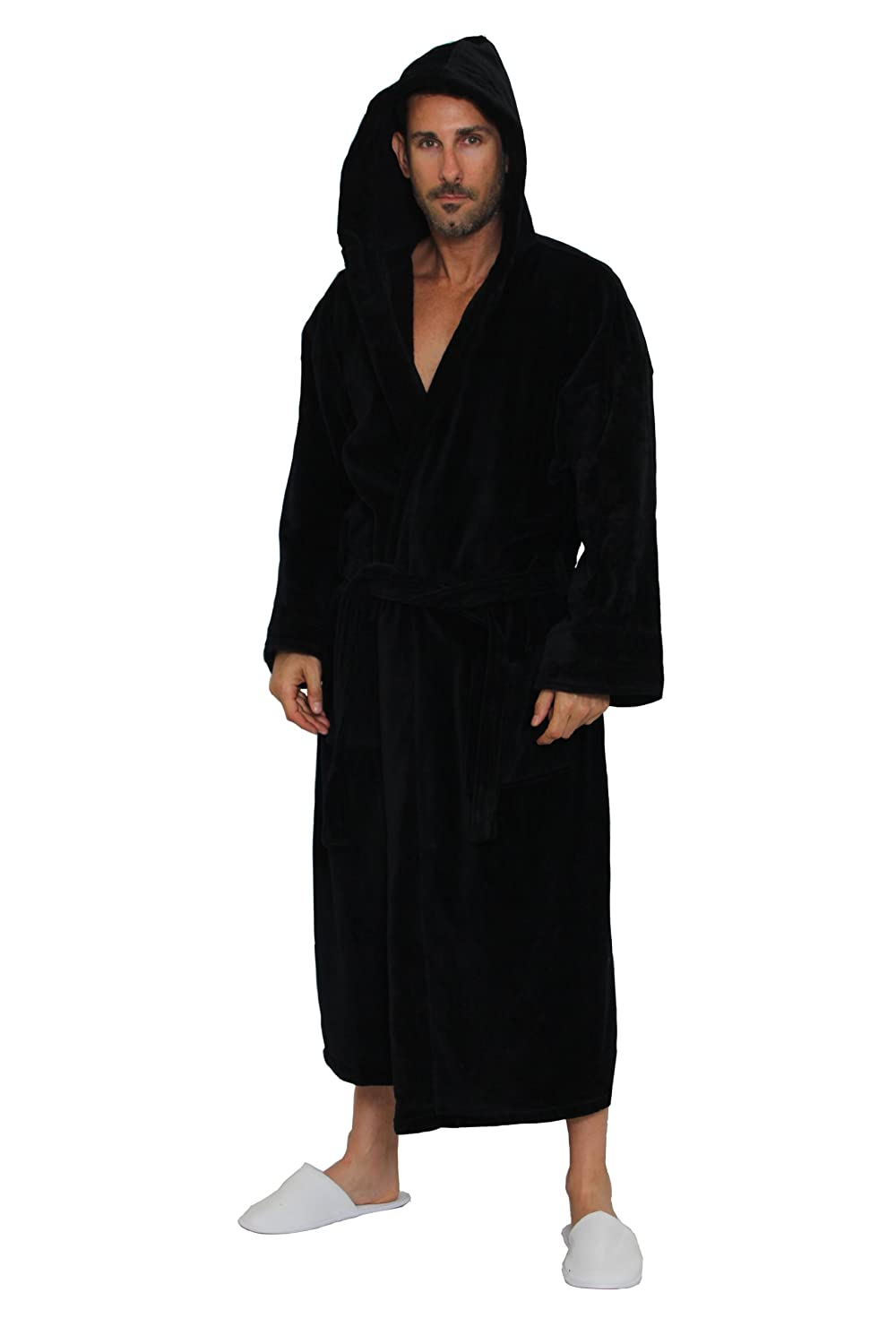 dcc200974d TowelRobes Terry Velour Hooded 100% Cotton Absorbent Robe Women s Men s  Bathrobe at Amazon Men s Clothing store