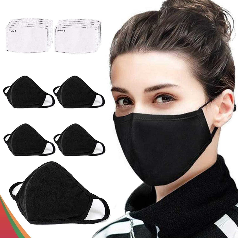 5 protectores a la moda, lavables y reutilizables, de algodón, transpirables, para exteriores, unisex, 10 filtros de carbón activado reemplazables