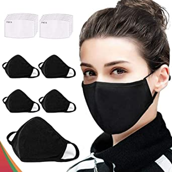Oferta amazon: 5 protectores a la moda ΜαscariΙΙas, 𝐌𝐚𝐬𝐜𝐡𝐞𝐫𝐞 lavables y reutilizables, de algodón, transpirables, para exteriores, unisex, 10 filtros de carbón activado reemplazables