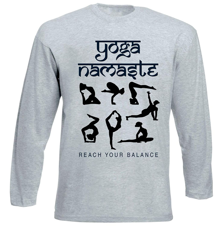 teesquare1st Yoga Namaste 8 Tshirt de Manga Larga Gris para ...