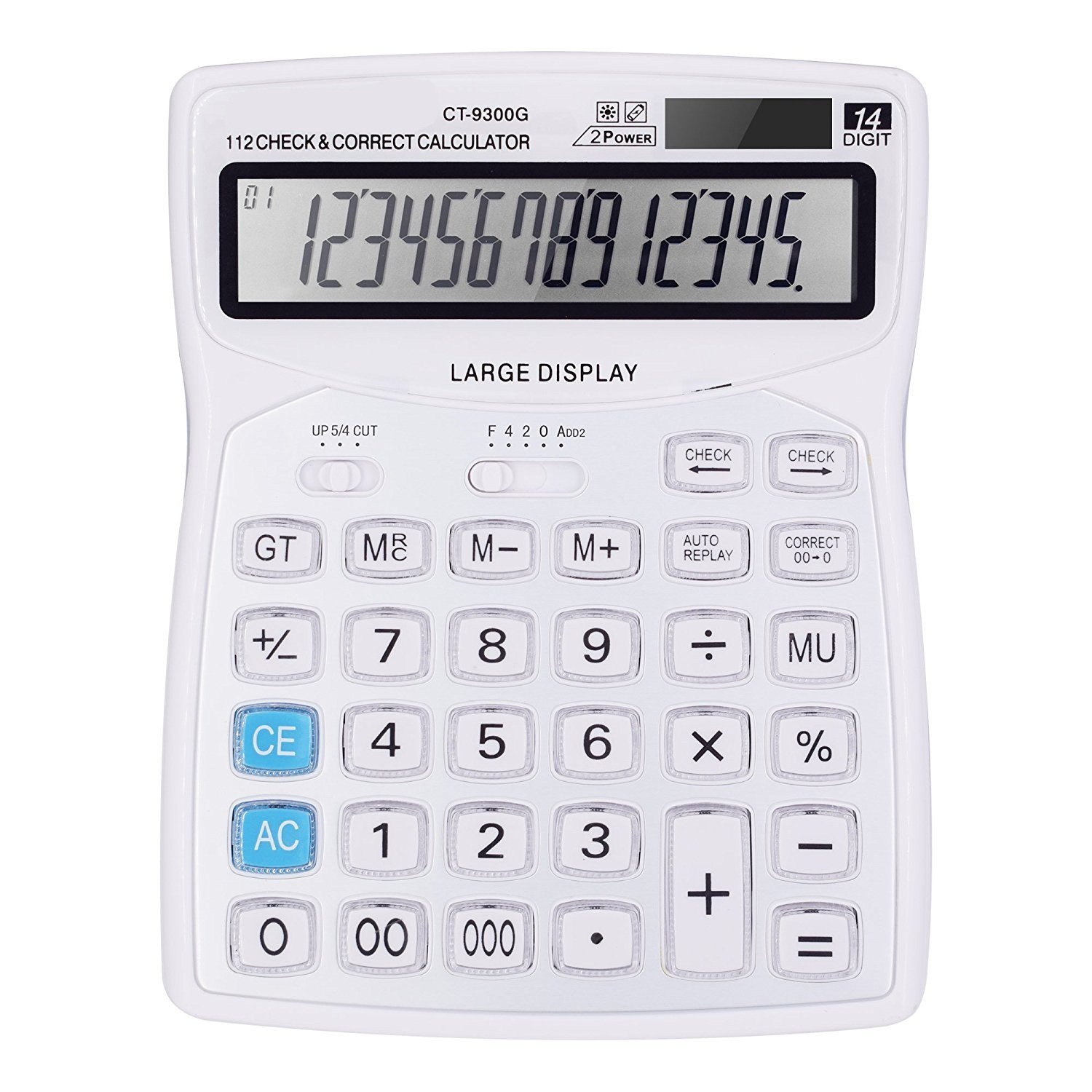 Professional Standard Large Desktop Calculator,Office/Business/ Electronic calculators with 14-digit Large Display, Solar and AA Battery Dual Power(White)
