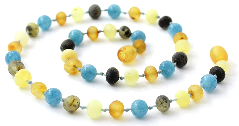Unpolished Baltic Amber Teething Necklace made with Aquamarine Beads - Size 11 inches (28 cm) - Raw Multicolor Baltic Amber Beads - BoutiqueAmber (11 inches, Raw Multi / Aquamarine)