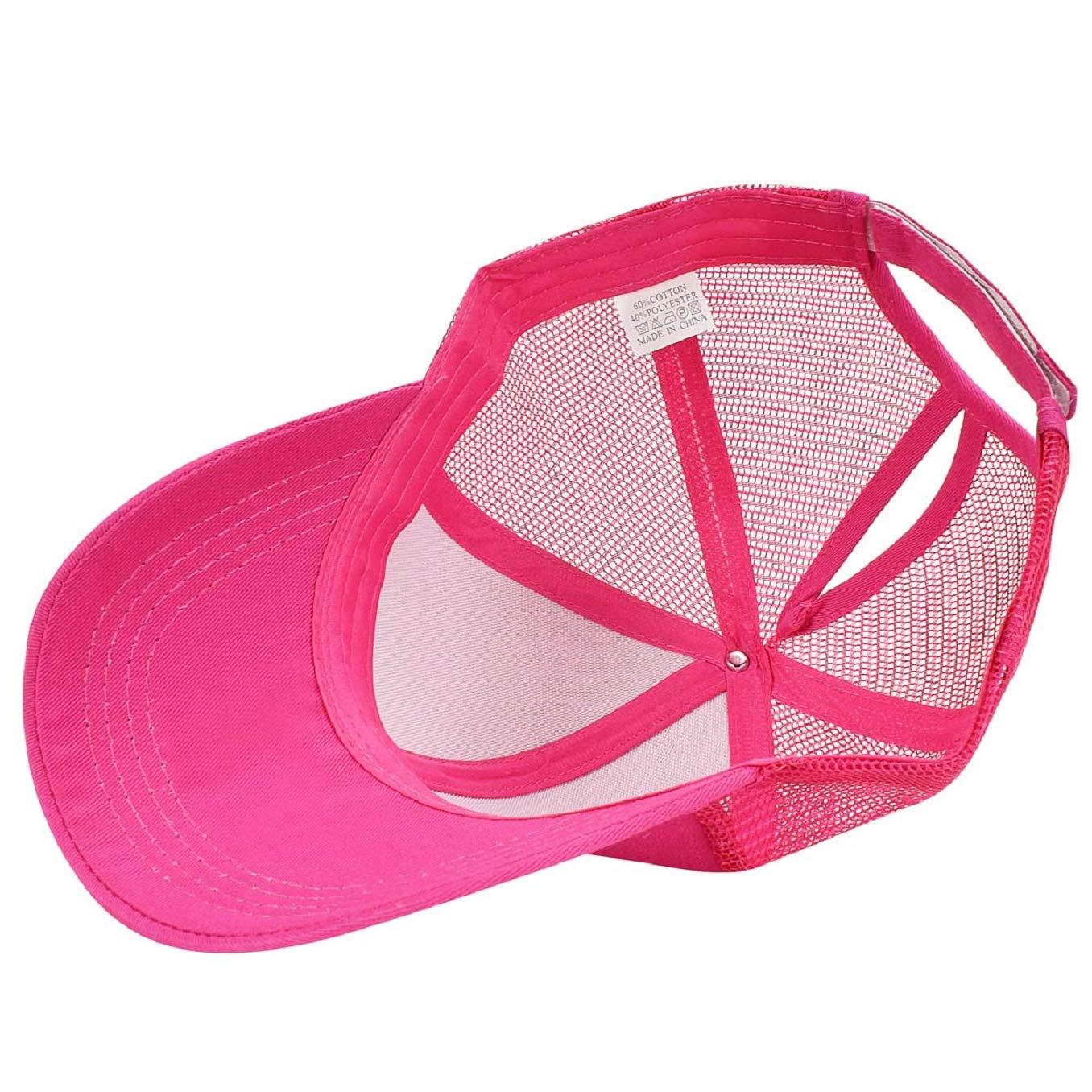 ac3bfc33792c0 Tuopuda Casquette de Baseball Femme Chapeau de Queue de Cheval Réglable Demi -Maille Casquettes de Sport Outdoor Vêtements