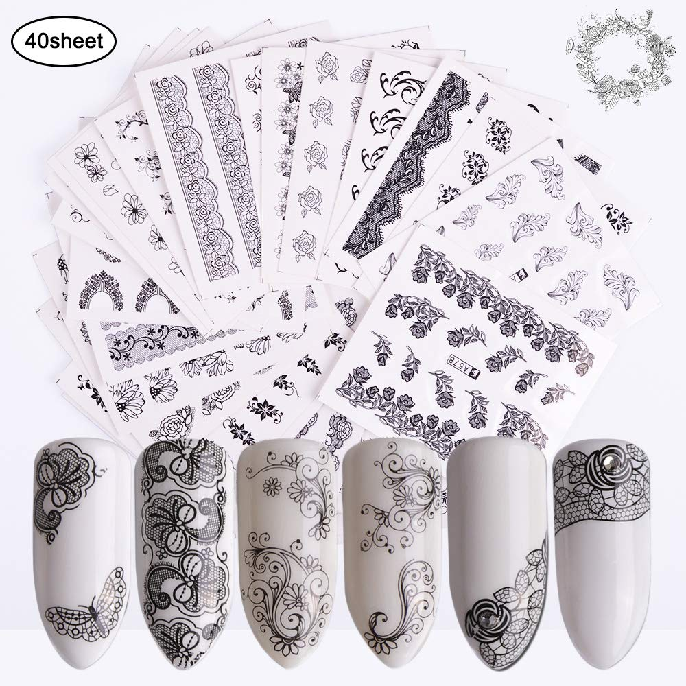 Nail Stickers for Women Water Slider Nail Art Decals 40 Sheets Self-adhesive DIY Black Lace Flower Butterfly Nail Stickers for Fingernail Decor Manicure Decorations for Toenail Tips Beauty Accessory