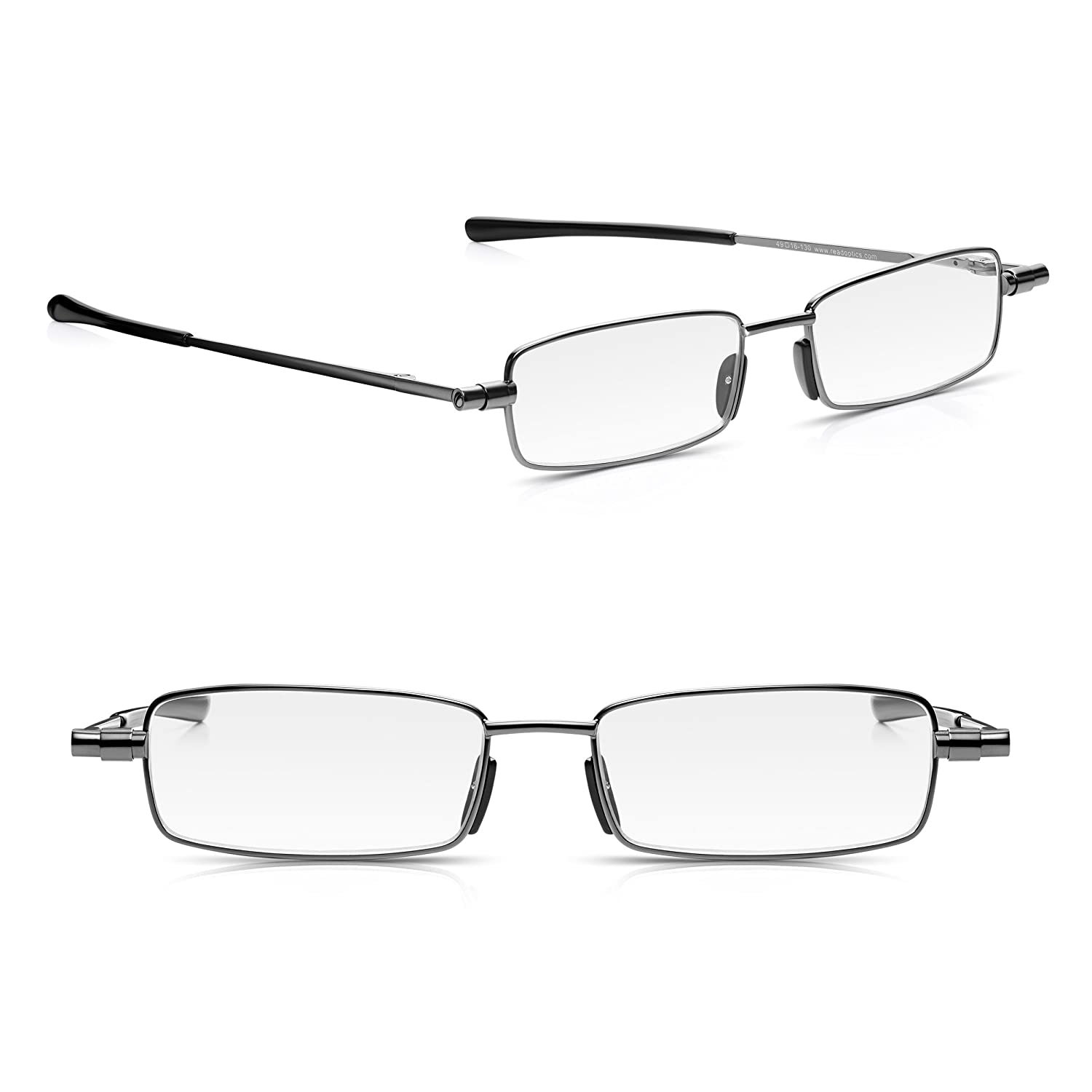 526ae58f1a 2 Pack Read Optics Foldable Reading Glasses Fold Up Flat into Thin Travel  Hard Case  +2.00 Mens Womens Patented Slim Folding Ready Readers Spectacles  with ...