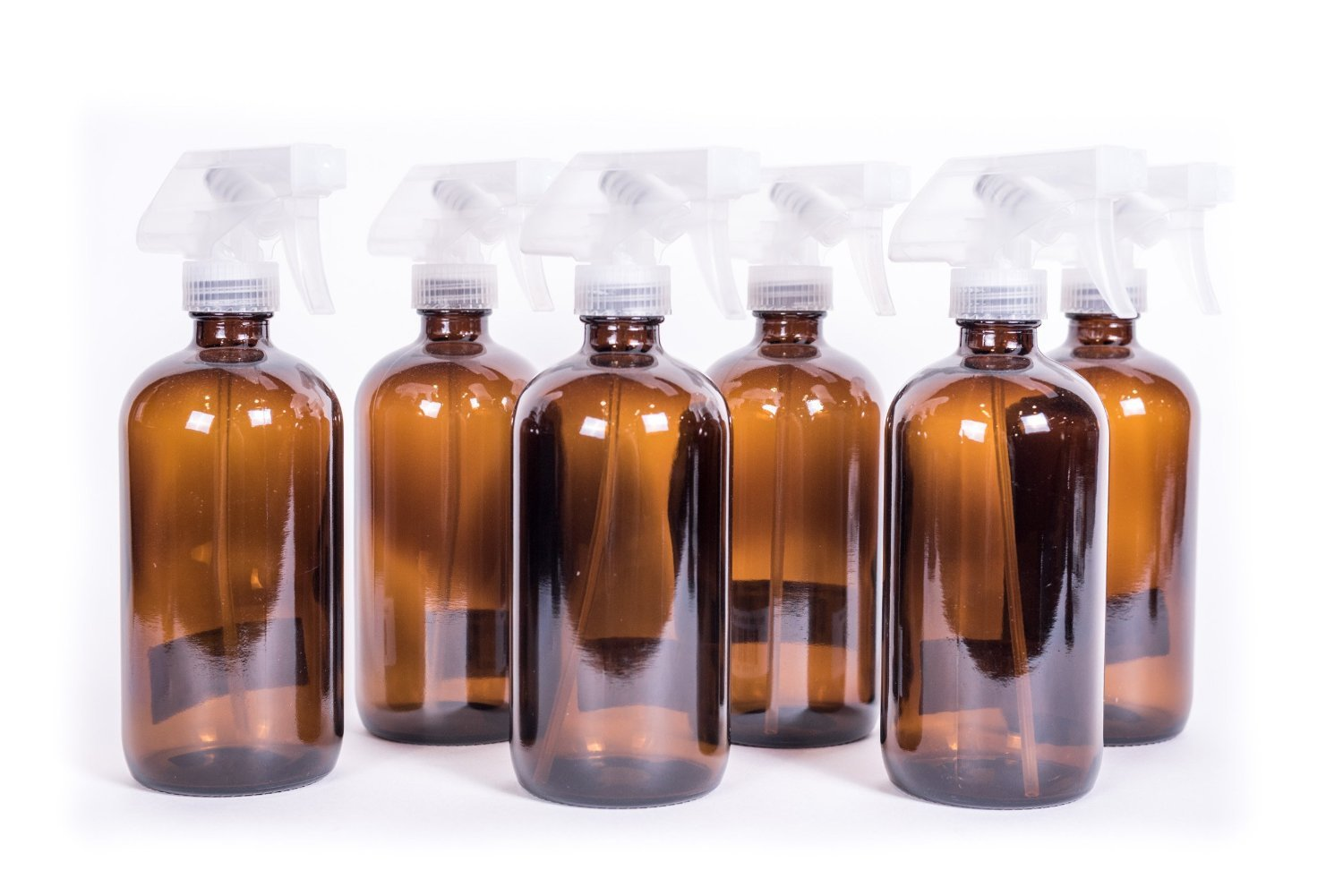 16oz Amber Glass Bottle with Trigger Sprayer for Essential Oils (6-pack) My Oil Gear