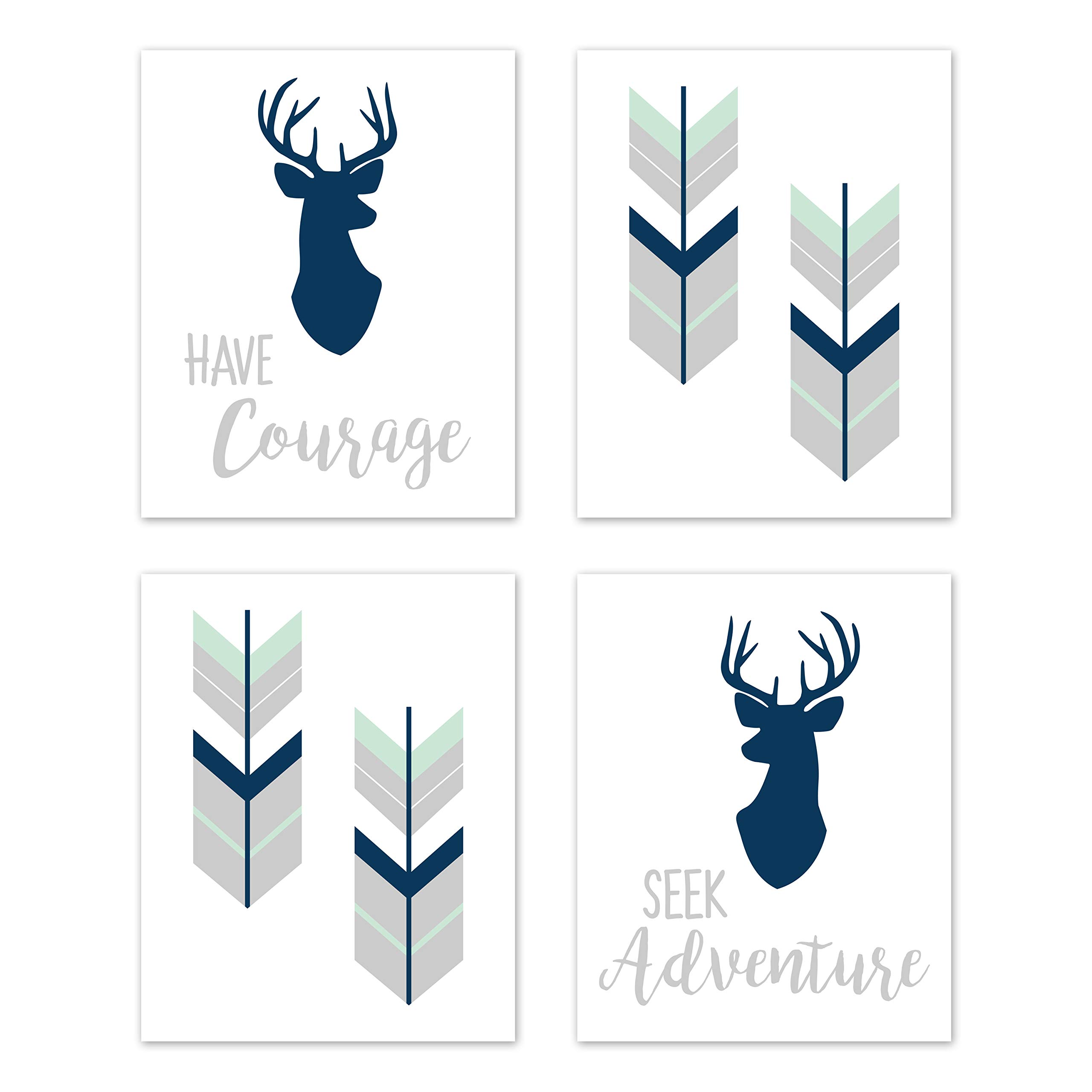 Sweet Jojo Designs Navy Blue, Mint and Grey Woodland Deer Wall Art Prints Room Decor for Baby, Nursery, and Kids for Woodsy Collection - Set of 4 - Seek Adventure Have Courage