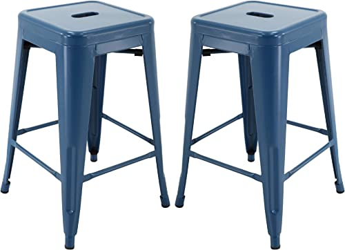 Vogue Furniture Direct 24 Barstools Backless Metal Barstool Indoor-Oudoor Counter Height Stool