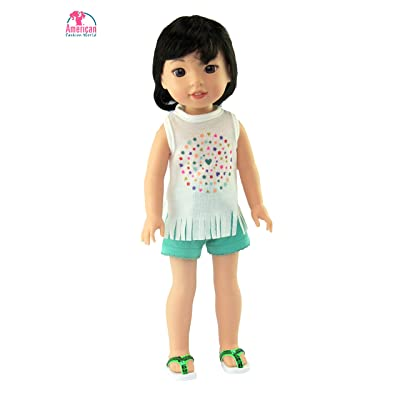 American Fashion World Pastel Fringe Short Set fits 14 Inch Doll: Toys & Games
