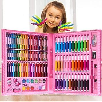 UHIPPO 150 Piezas Set de Dibujo y Pintura Caja Colores para Niños, Caja Colores Niños, Lapices De Colores, Conjunto de Pintura, Piezas de Arte Conjunto para niños (Paquete: Rosa): Amazon.es: Juguetes y