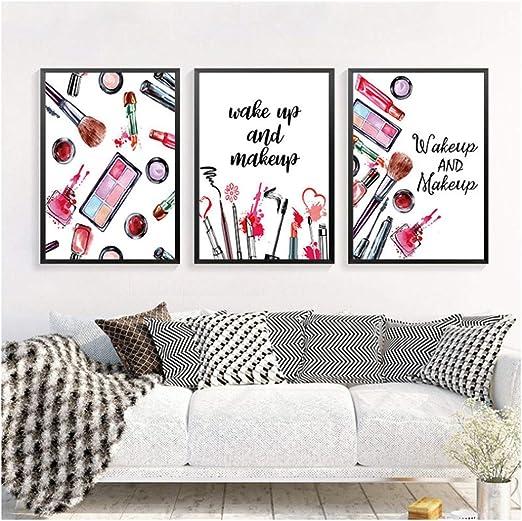 Impresión en lienzo Maquillaje Cuadros de pared Impresión de arte Cartel Decoración para el hogar Pintura en lienzo Decoración moderna del arte de la pared -50x70cm Sin marco: Amazon.es: Hogar