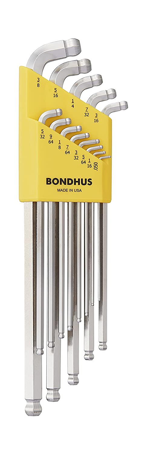Bondhus 77037 Stubby Double Ball End L-Wrench Set with BriteGuard Finish and Extra Long Arm, 13 Piece