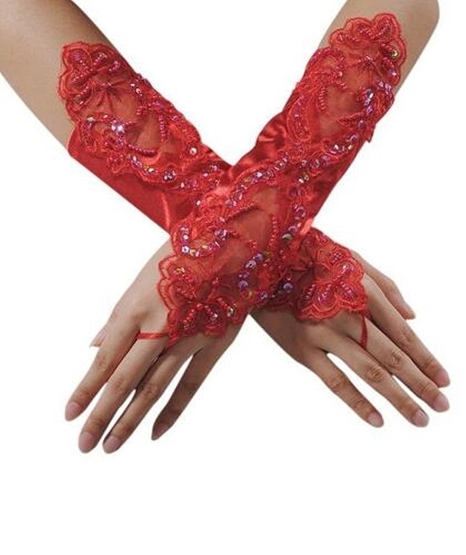 Cosanter Fingerlose Brauthandschuhe Satin Spitze Braut Handschuhe Spitze Hochzeit Satin Gloves für Braut Abend Party Schwarz