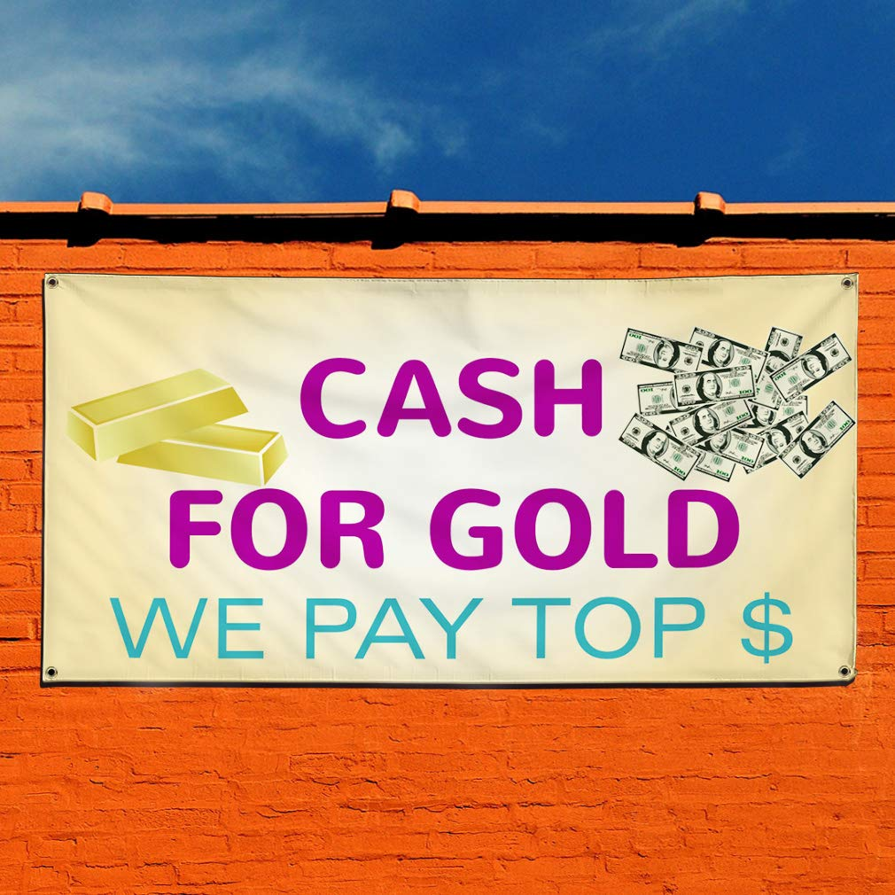 Vinyl Banner Sign We Buy Gold Top $$$ Paid #1 Style A Marketing Advertising Yellow 44inx110in Multiple Sizes Available One Banner 8 Grommets