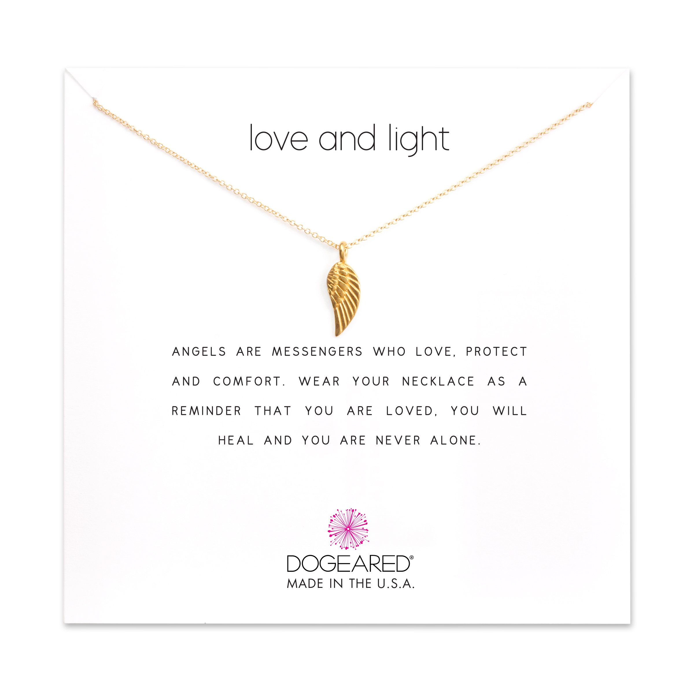 Dogeared ''Love And Light'' Guardian Angel Wing Necklace, Gold Dipped 16''