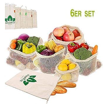 Bolsa de producto reutilizable - Bolsa de verduras y frutas para la bolsa de malla de algodón congelado - Juego extraíble y lavable 6, etiqueta de ...