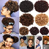 Afro Kinky Curly Updo Fluffy Scrunchy Hairpiece Puff Ponytail Chignon Hair Bun Extensions with Elastic Drawstring Clips for Women - 65G, Natural Black