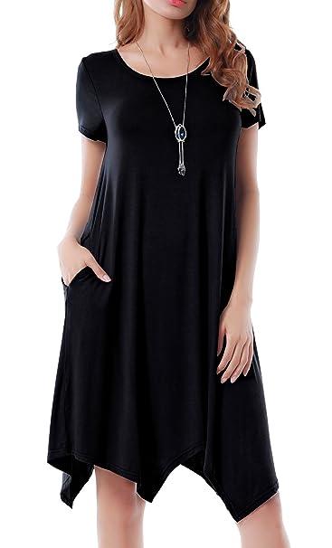 Invug Women Casual Loose Soft Crewneck Short Sleeve Pockets Swing T-shirt  Dress Black S