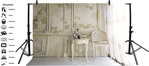 Baocicco Victorian Living Room in Morning Light Backdrop 10x8ft Photography Background Vintage Classic Room Luxury Decorations White Curtain Armchair Round Table