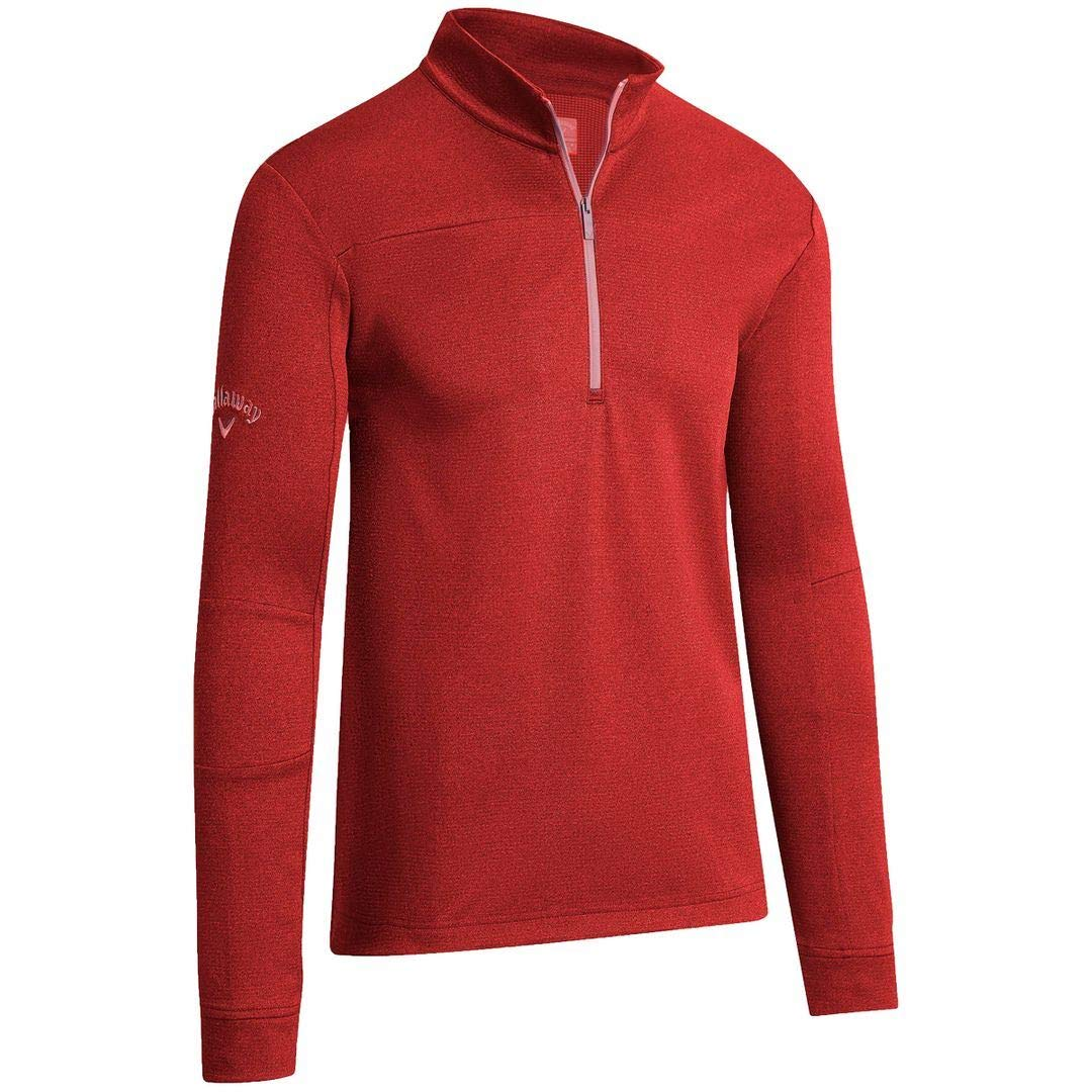 Callaway Golf 2019 Mens Pieced Waffle 1/4 Zip Thermal Pullover Sweater Lychee Large by Callaway