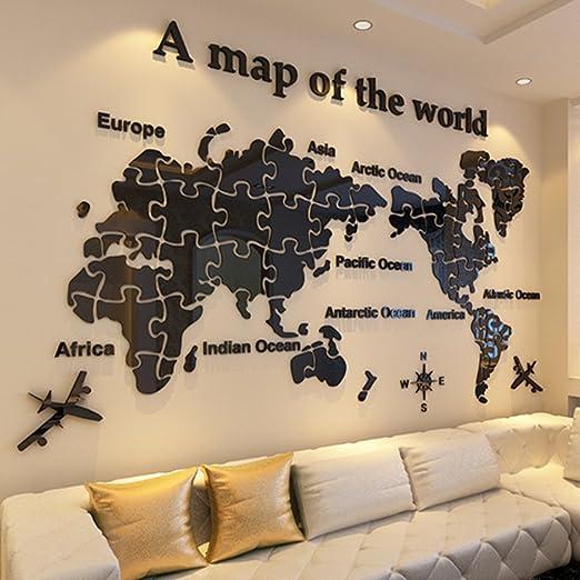 Mundo mapa acrílico 3d wall sticker,Decoración de la pared para ...