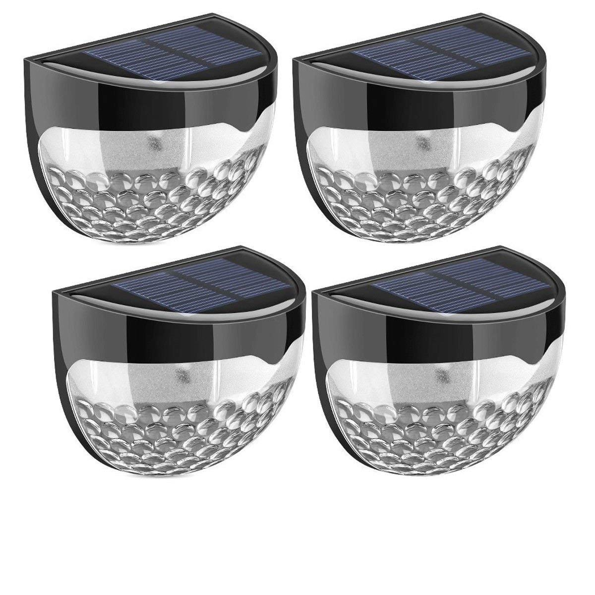 Fineway Pack Of 4 Solar Powered 6 Bright Led Door Fence Wall Lights Outdoor Garden Shed Lighting- Weather-Proof Ip65 Protection Grade, Dust-Resistant, Splash-Resistant, Very Suitable For Outdoor Use.