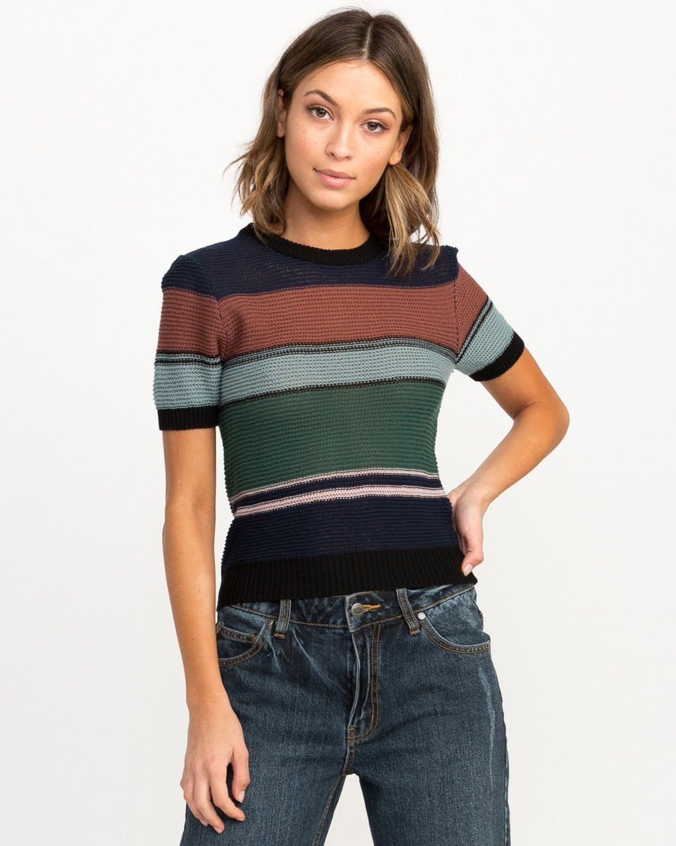 RVCA Junior's Brightsideshort Sleeve Sweater, Shady Blue, L