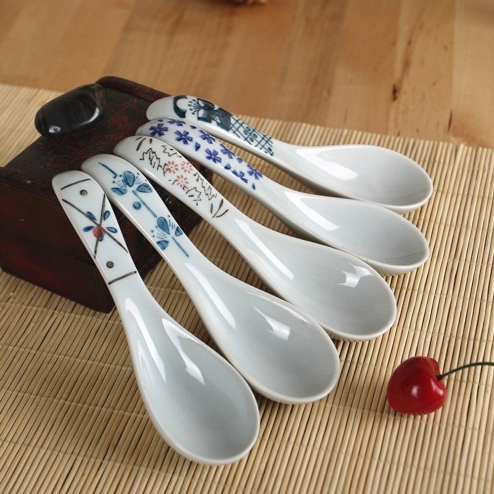 DEBON Ceramics Soup Spoons set Hand Painted Flower Glaze Porcelain Chinese Japanese Asian Rice Spoons Appetizer Tableware Meal Partner of Food Safe Non toxic Lead free spoons Dishwasher Safe
