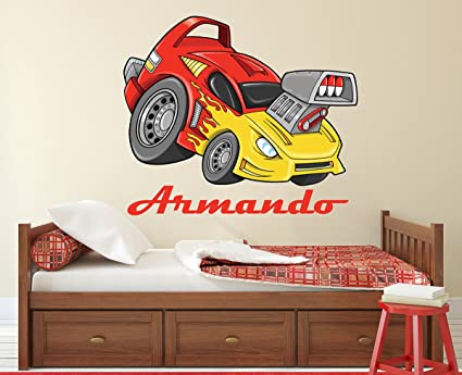 Amazon.com: Custom Racing Car Wall Decal Sport Race Nursery Baby ...