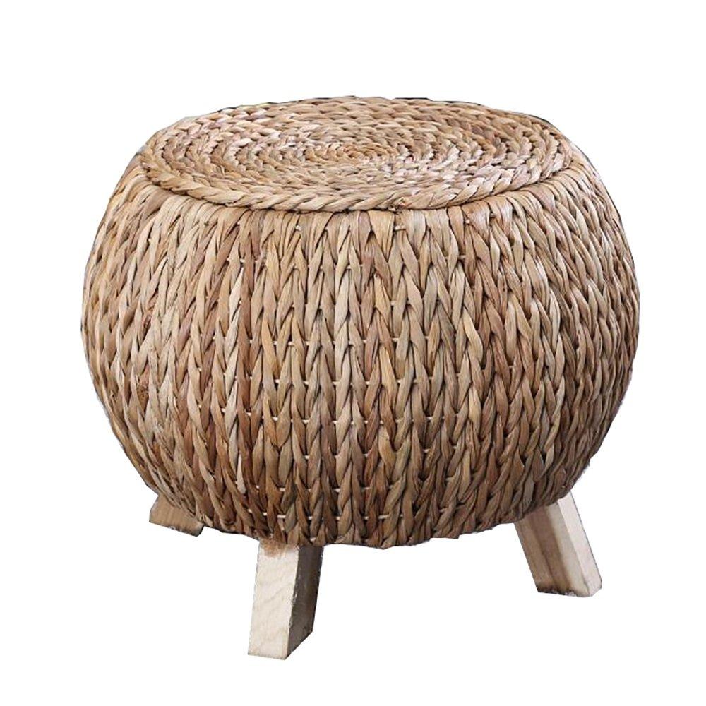 Hocker Handgemachte Satin Textur Stroh Rattan Sit Ländliche Ländliche Kreative Handgewebte