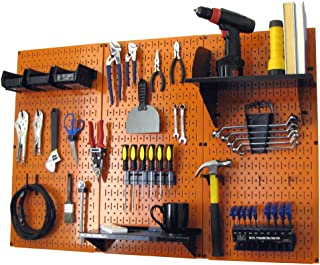 product image for Wall Control 4 ft Metal Pegboard Standard Tool Storage Kit with Orange Toolboard and Black Accessories