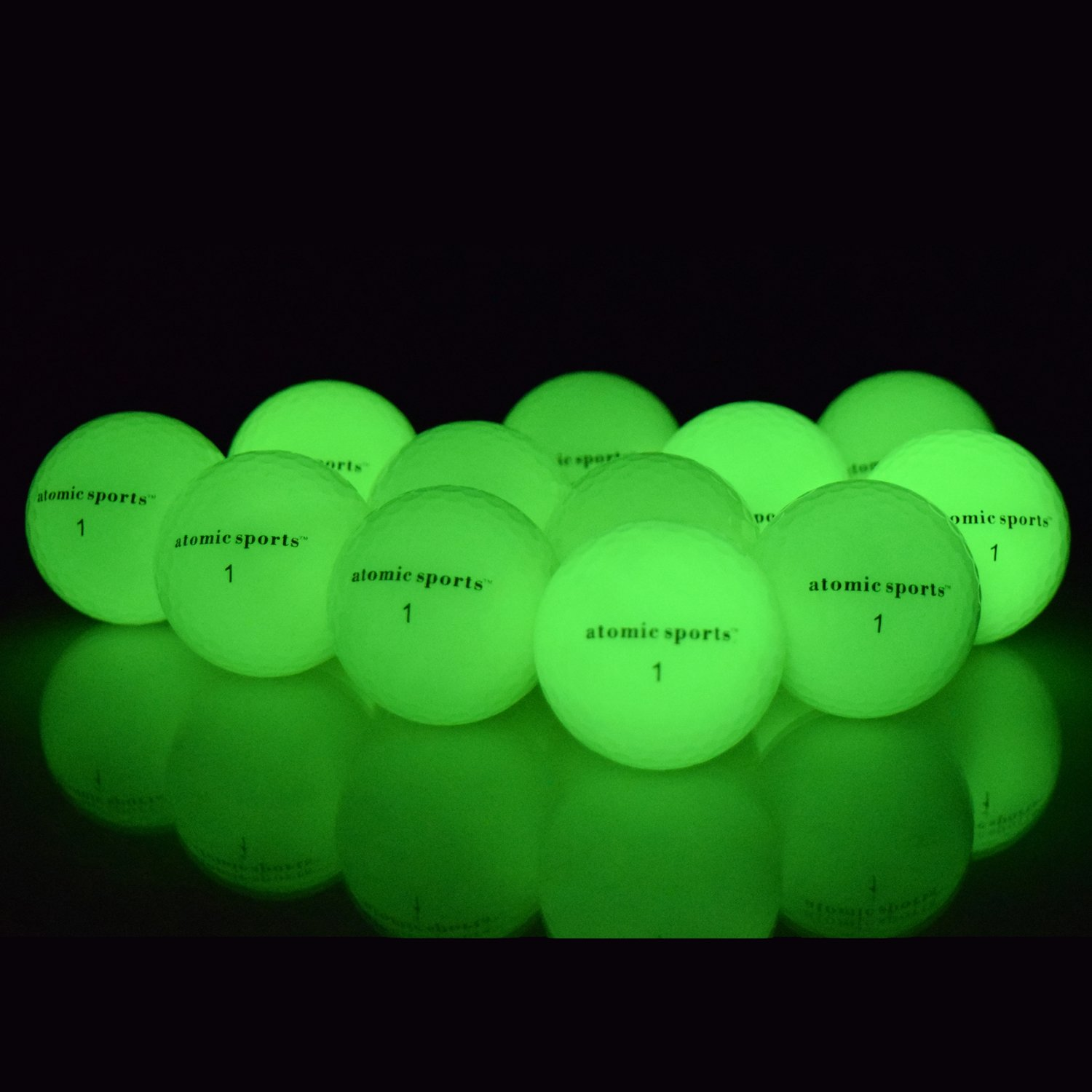 atomic sports 12 Golf Balls - Glow in the Dark Golf Balls