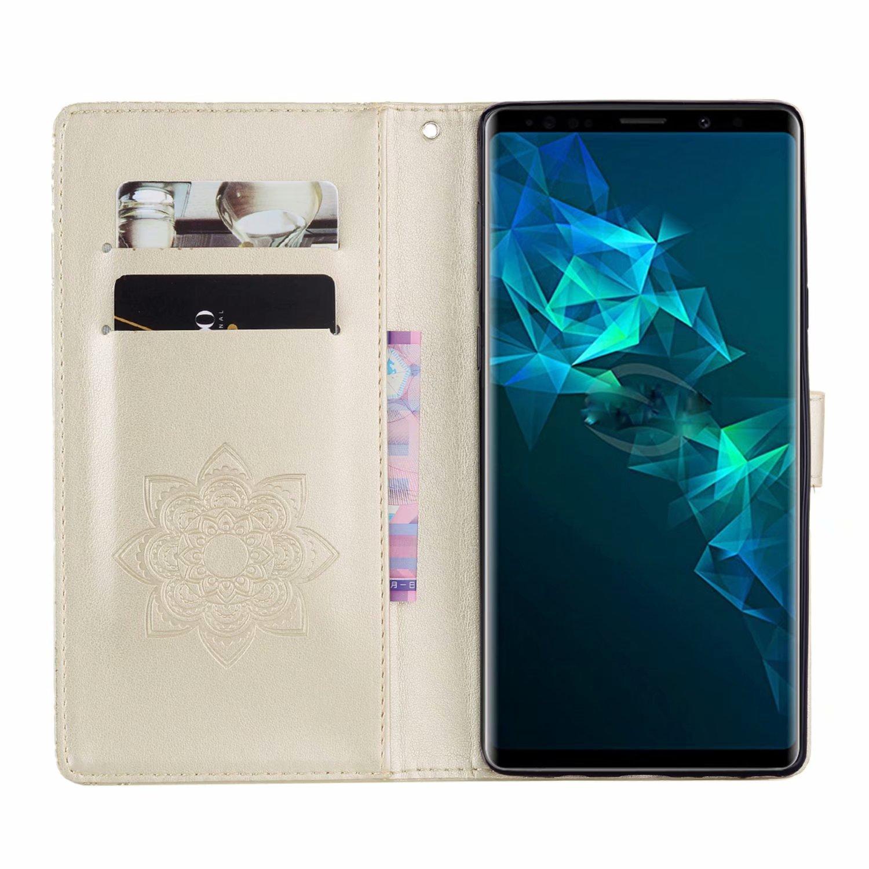 COWX Tel/éfono M/óvil para Samsung Galaxy Note 9/Funda Piel Flip Case Cartera Funda Carcasa para Samsung Galaxy Note 9/Funda Cover imitaci/ón b/úho Oro