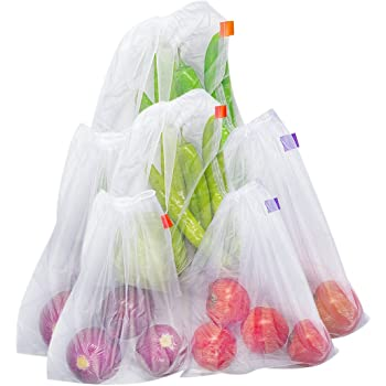 bekith set of 6 reusable produce bags mesh bags for grocery shopping storage of fruit. Black Bedroom Furniture Sets. Home Design Ideas