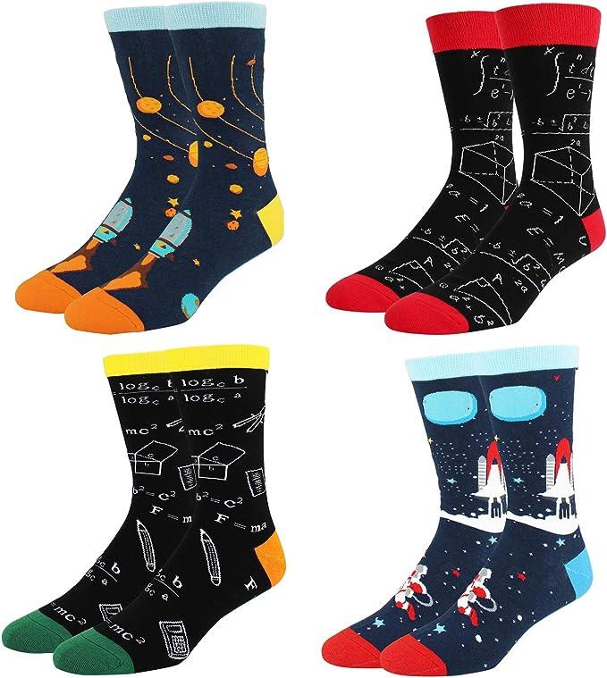 Calcetines divertidos para hombre, de algodón, diseño de alienígena Space Dream-4 Pack M: Amazon.es: Ropa y accesorios