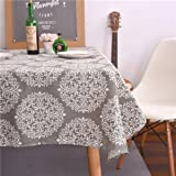 ColorBird Grey Medallion Tablecloth Cotton Linen Dust-proof Table Cover for Kitchen Dinning Tabletop Linen Decor (Rectangle/Oblong, 55 x 102Inch)