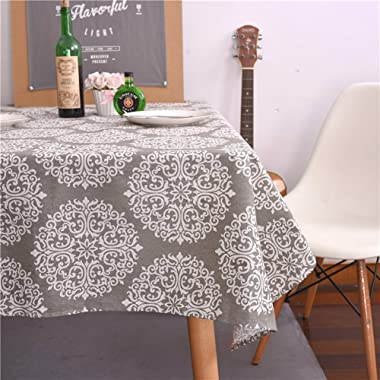 ColorBird Grey Medallion Tablecloth Cotton Linen Dust-Proof Table Cover for Kitchen Dinning Tabletop Linen Decor (Square, 55 x 55Inch)